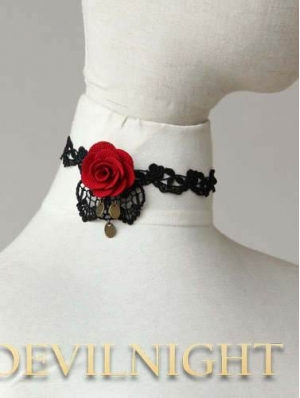 Black Lace Red Flower Romantic Gothic Necklace