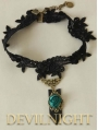 Black Lace Green Flower Romantic Gothic Necklace