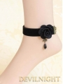 Black Flower Gothic Ankle Bracelet