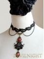 Black Lace Red Pendant Chain Gothic Necklace