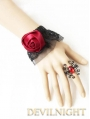 Black Lace Red Flower Gothic Bracelet Ring Jewelry