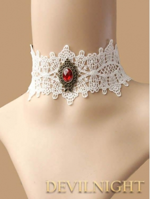White Lace Red Pendant Gothic Victorian Necklace