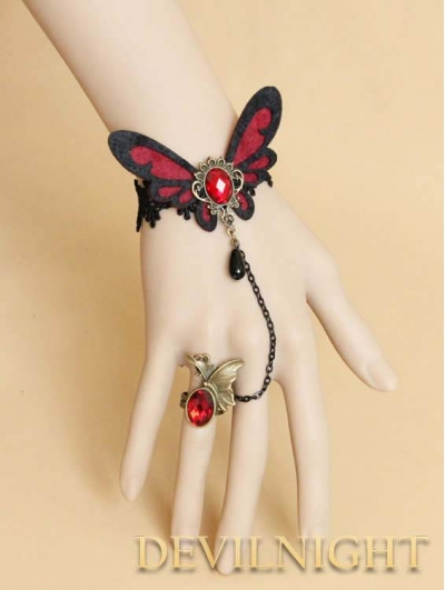 Black lace red butterfly flower gothic bracelet ring for Red black and green jewelry