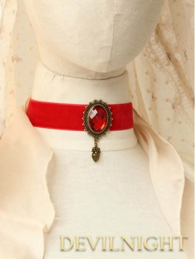 Red Pendant Gothic Vampire Necklace Jewelry