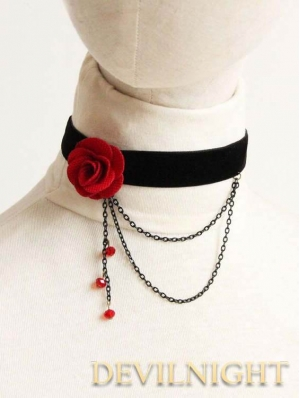 Black and Red Flower Chain Gothic Necklace