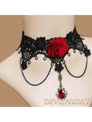 Black Lace Red Flower Pendant Gothic Necklace