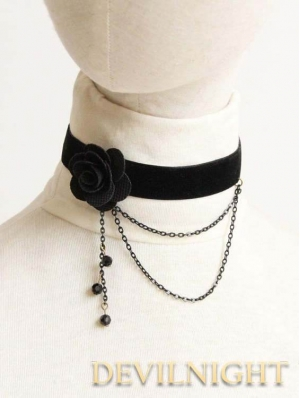 Black Flower Chain Gothic Necklace