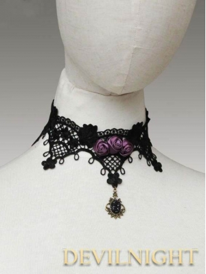 Black Lace Purple Flower Romantic Gothic Necklace