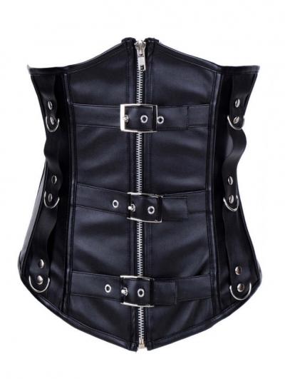 Black Leather Zipper Underbust Gothic Corset