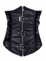 Black Leather Zipper Underbust Gothic Corset