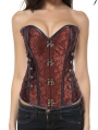 Brown Pattern Overbust Fashion Steampunk Corset