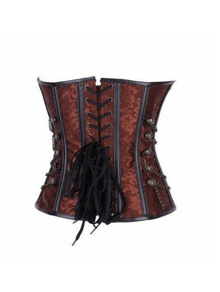 Brown Pattern Overbust Fashion Steampunk Corset ...
