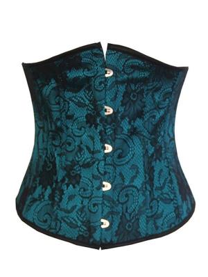 Green Pattern Underbust Gothic Victorian Corset