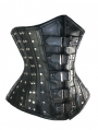 Black Leather Overbust Fashion Gothic Steampunk Corset