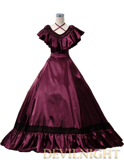 Wine Red Victorian Edwardian Belle Evening Gown