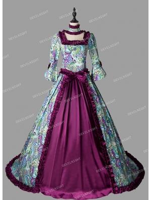 Purple Floral Pattern Marie Antoinette Victorian Dress