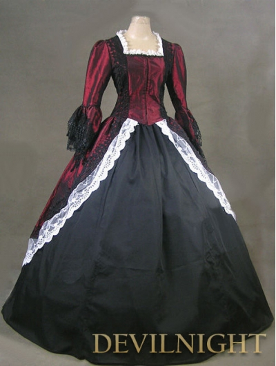 Wine Red and Black Marie Antoinette Masked Ball Victorian Dress