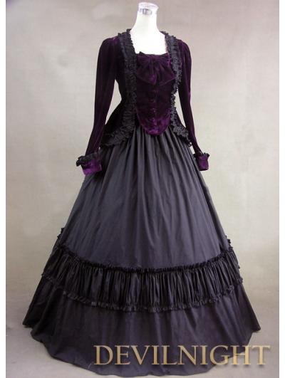 Purple Velvet Long Sleeves Gothic Victorian Ball Gowns