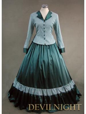 Noble Blue Plaid Vintage Gothic Victorian Dress