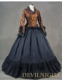 Romantic Vintage Long Trumpet Sleeves Gothic Victorian Dress