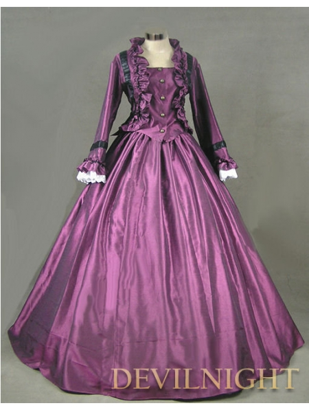 purple victorian day dress with long sleeves devilnight