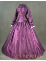 Purple Victorian Day Dress with Long Sleeves