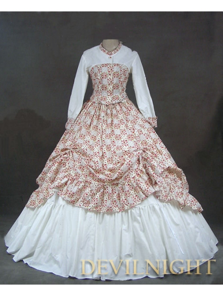White And Floral Pattern Classic Rococo Victorian Dress