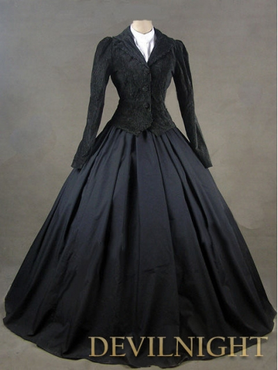 Black Jacket Winter Gothic Victorian Costume Dress