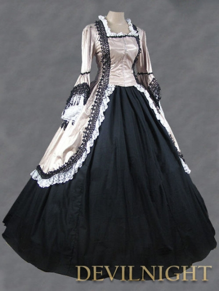 Champagne and Black Marie Antoinette Victorian Ball Gowns