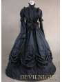 Black High Collar Classic Gothic Victorian Dress