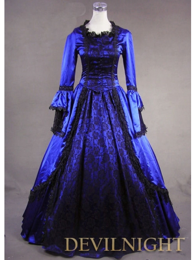 Blue Marie Antoinette Masked Ball Victorian Costume Dress