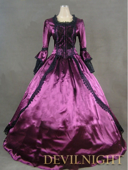 Purple Marie Antoinette Masked Ball Victorian Costume Dress