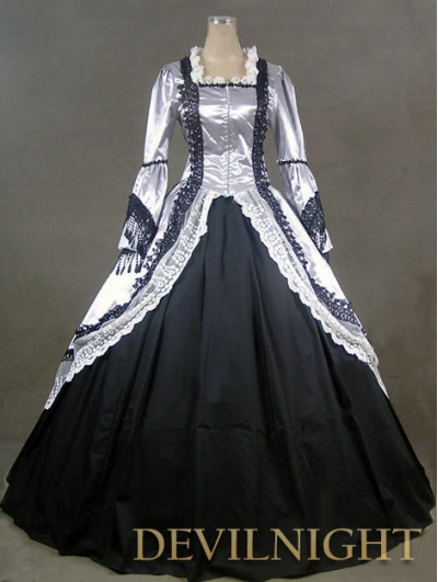 Lavender and Black Marie Antoinette Victorian Ball Gowns