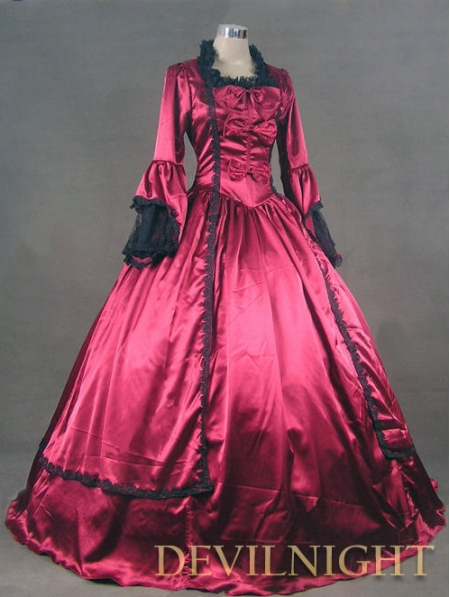 Wine Red Marie Antoinette Victorian Ball Gowns