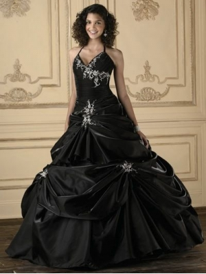 Black Embroidery Ball Gown Gothic Wedding Dress