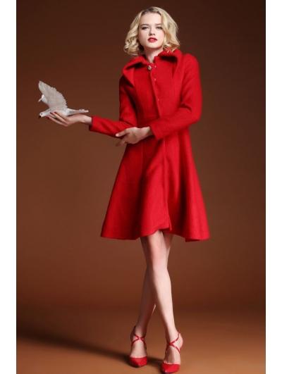 Red Elegant Vintage Wool Coat - Devilnight.co.uk