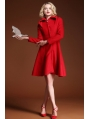 Red Elegant Vintage Wool Coat