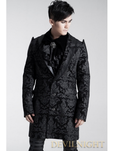 Black Pattern Gothic Long Jacket for Men