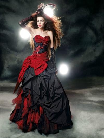 1f6ca1e9d61c Red and Black Gothic Wedding Dress - Devilnight.co.uk
