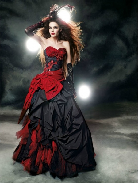 Red Wedding Dresses With Black Lace : Red and black gothic wedding dress devilnight