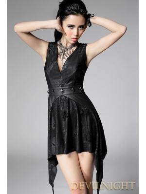 Black Sleeveless Sexy V-Neck Gothic Punk Dress