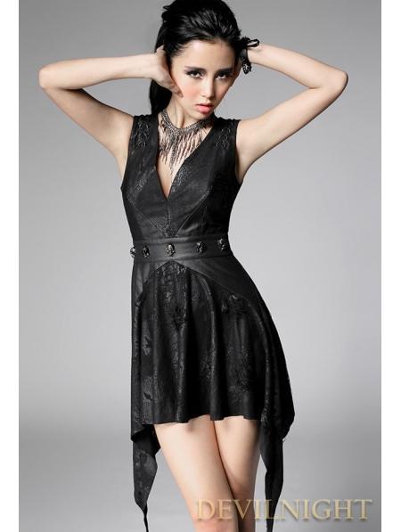Black Sleeveless Sexy V Neck Gothic Punk Dress Devilnight