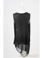 Black Sleeveless Spider Web Gothic Shirt for Women