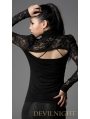 Black High Collar Long Sleeves Lace Gothic Shirt for Women
