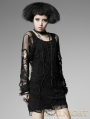 Black Long Sleeves Spider Web Gothic Shirt for Women