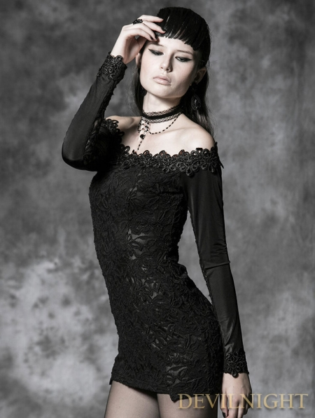 Black Long Sleeves Lace Gothic Mini Dress Devilnight