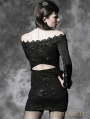 Black Long Sleeves Lace Gothic Mini Dress