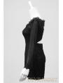 Black Long Sleeves Lace Gothic Mini Dress