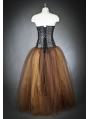 Brown Long Gothic Steampunk Corset Prom Dress