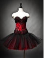 Red and Black Gothic Burlesque Short Corset Party Dress